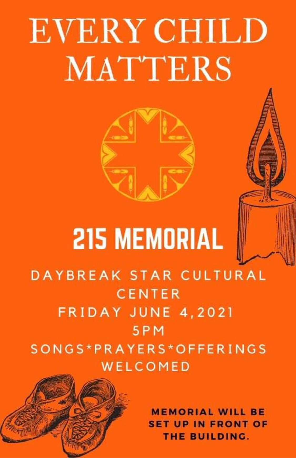 Every Child Matters: 215 Memorial. Daybreak Star Cultural Center, Friday June 4, 2021, 5pm