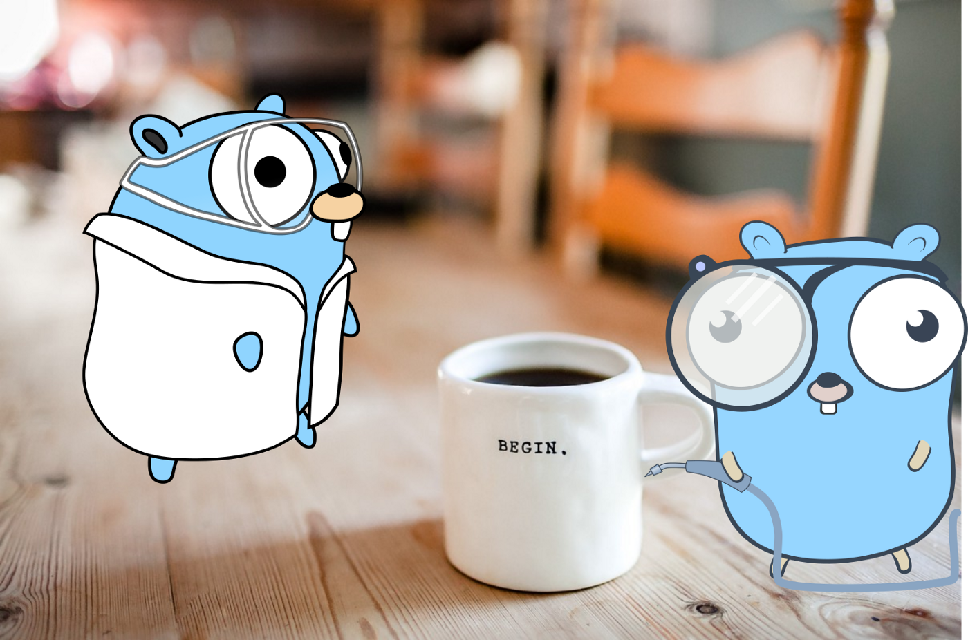 Gophers (Golang) scientist around a cup of coffee