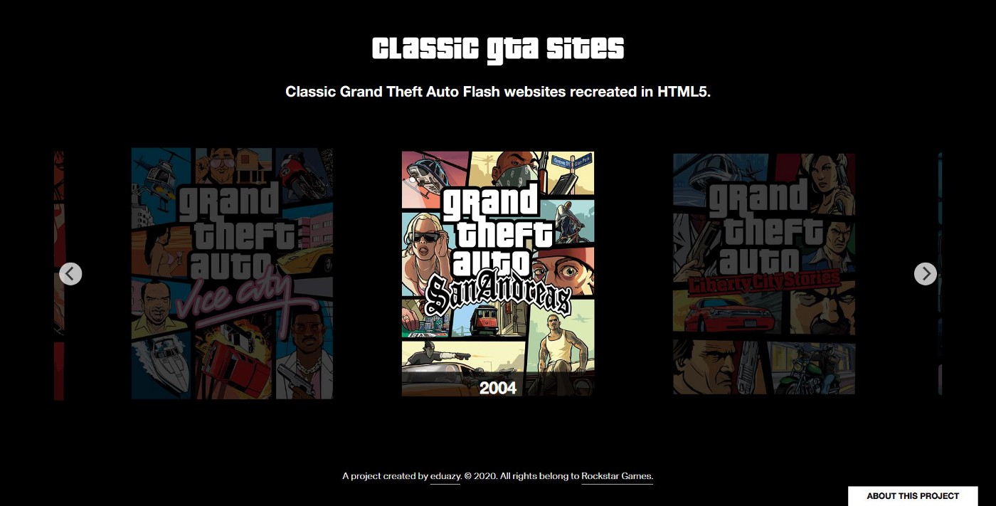 Grand Theft Auto Flash Websites recreated in HTML5