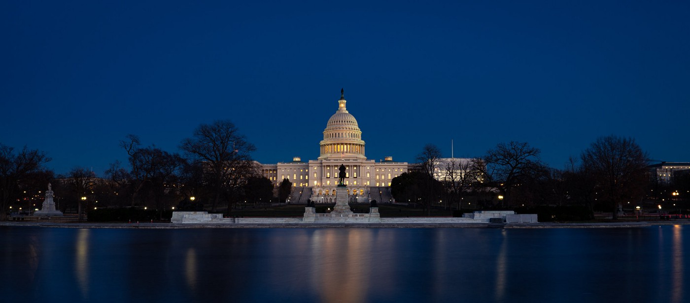 """""""US Capitol at Dusk"""" by John Brighenti is licensed under CC BY 2.0. Waterfront view."""