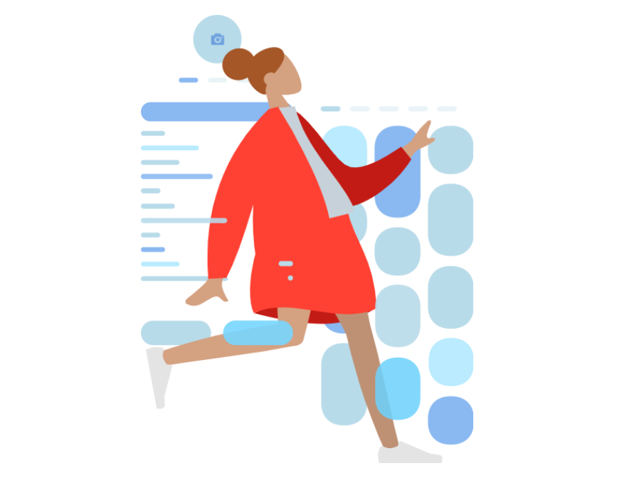 Woman in motion, getting things done