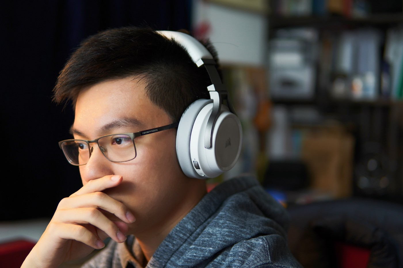 A medical student studying with his headphones on