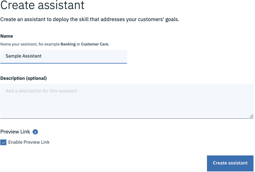 Click on the Create Assistant Button to op up this screen. Add in name and description and hit the button.