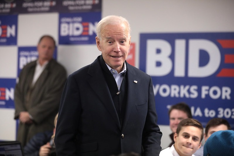 Former Vice President of the United States Joe Biden speaking with supporters at a phone bank in Iowa
