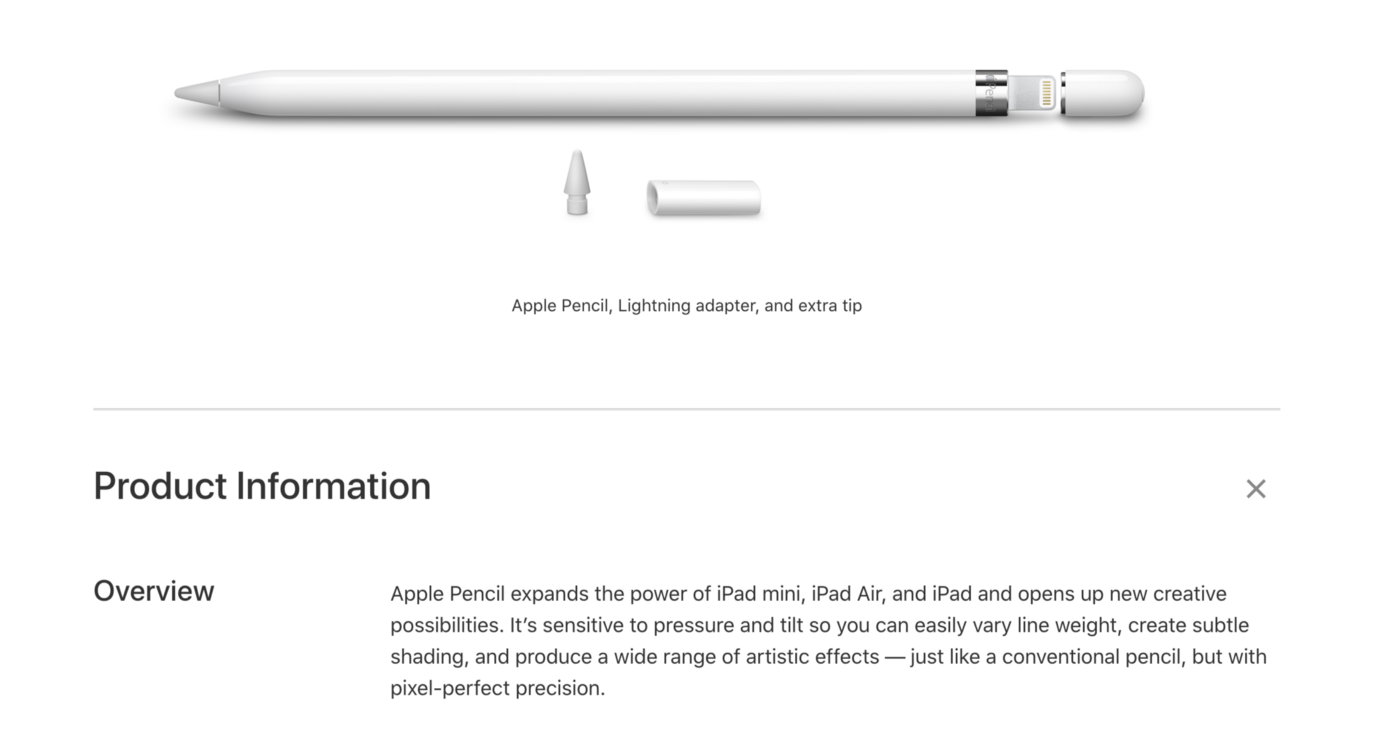 Apple Pencil (1st Generation), as well as the description from Apple's website.