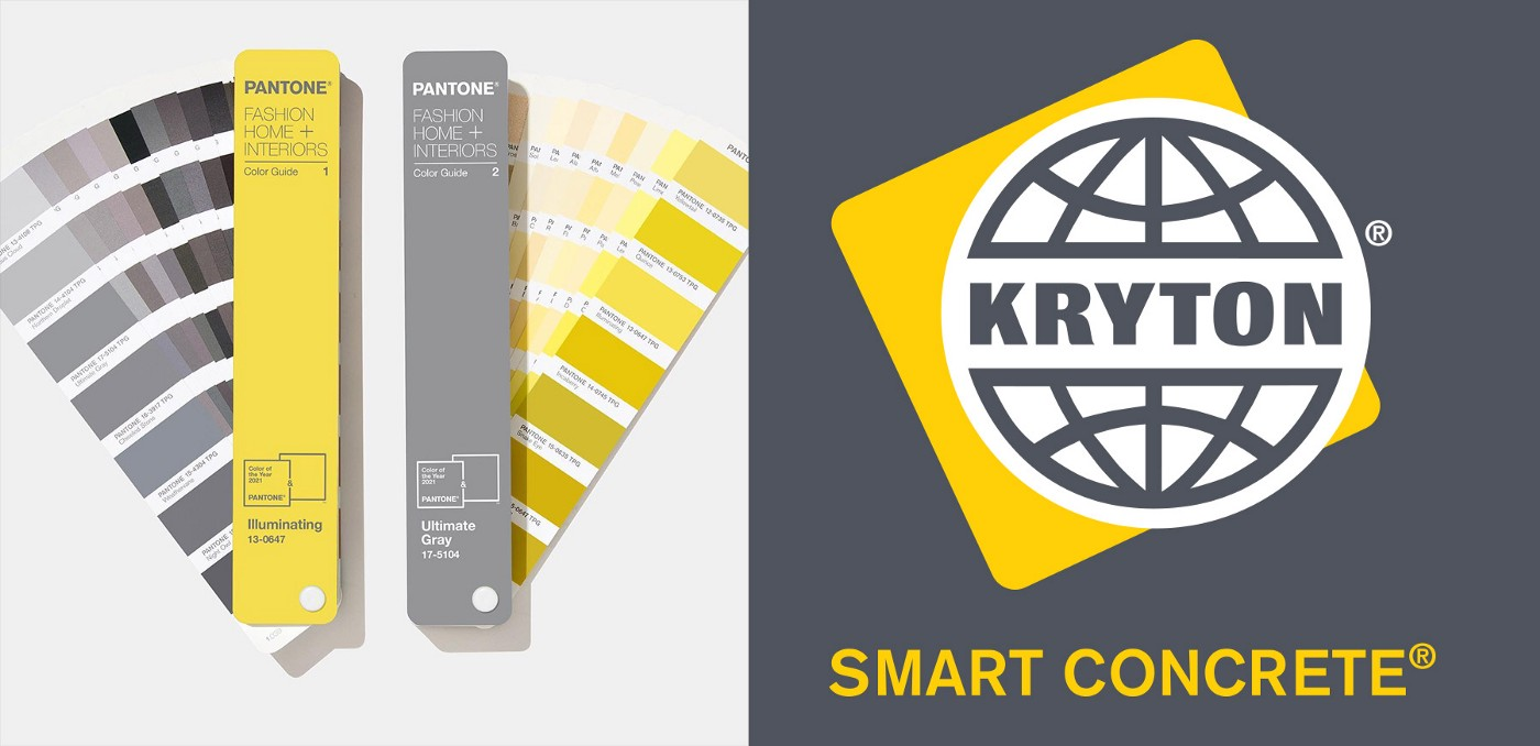 Kryton's logo is on the left side while shades of Pantone's colors for 2021 are shown on the left.