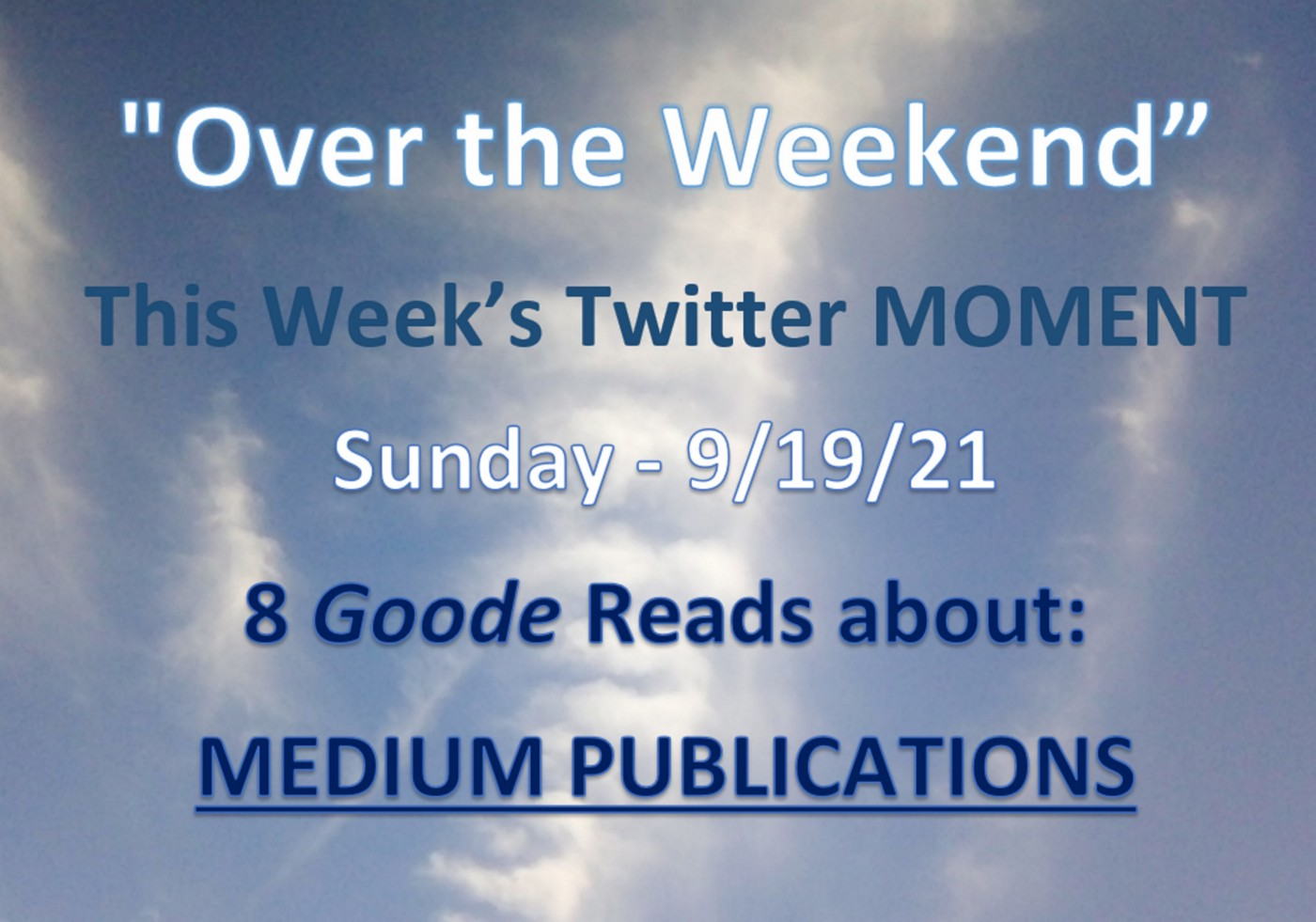 Over the Weekend feature cover image