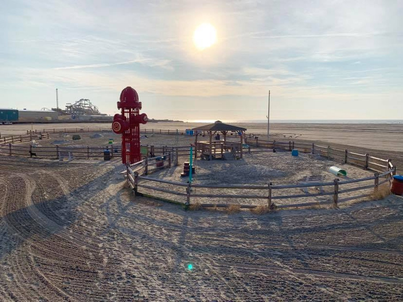 Wildwood Dog Park and Dog Beach is instantly recognizable for its giant fire hydrant.