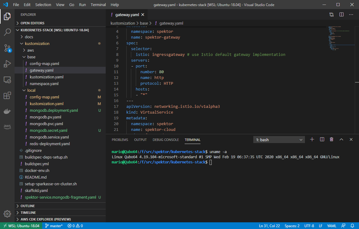 Visual Studio code with Remote WSL extension