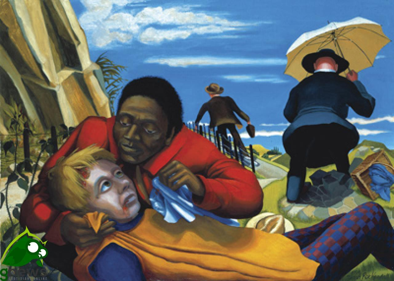Modern painting in bold colors of the parable of the Good Samaritan shows black Samaritan cradling head of white traveler on the road while a businessman and priest scurry away.