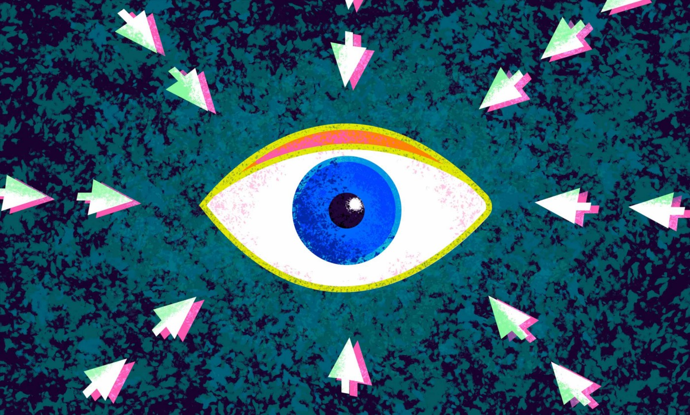 Graphic of a blue eye with click arrows pointing towards it on all sides over a textured, teal background.