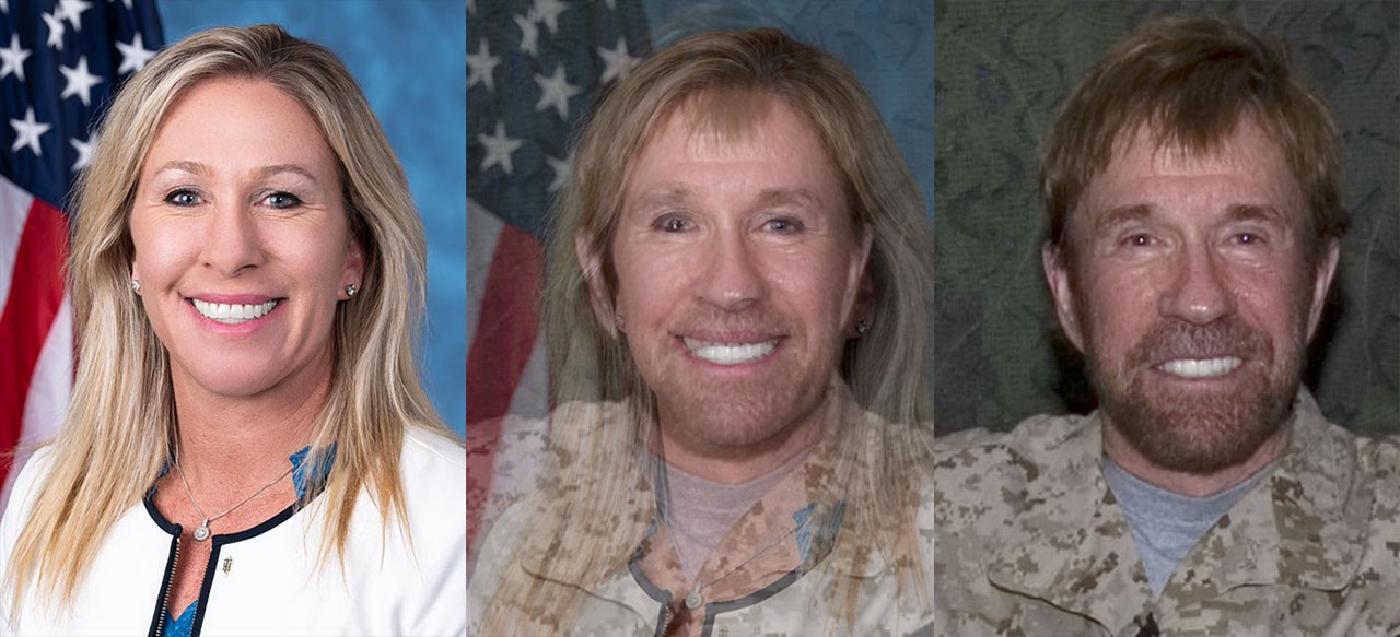 Photos of Marjorie Taylor Greene, Chuck Norris, and a composite of the two