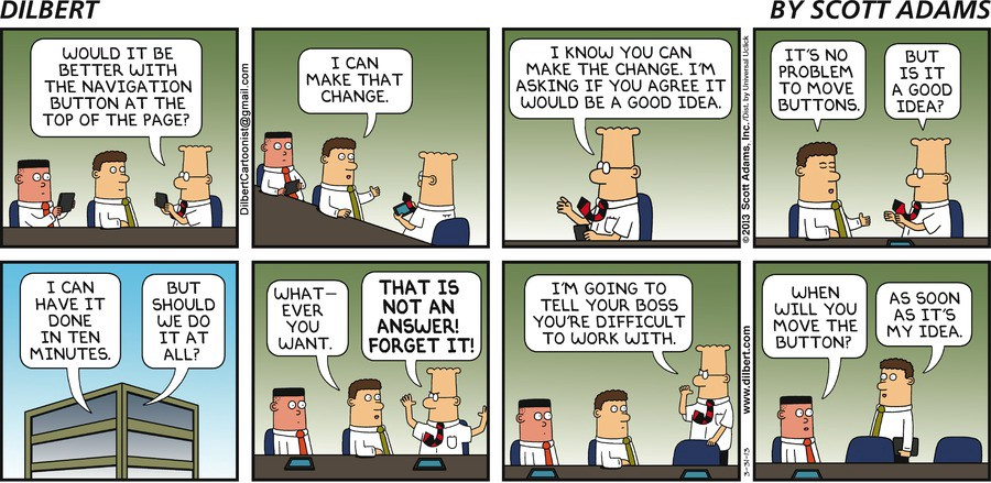 Dilbert comic stripe about navigation