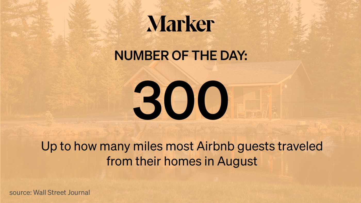 Marker Number of the Day: 300—Up to how many miles most Airbnb guests traveled from their homes in August.