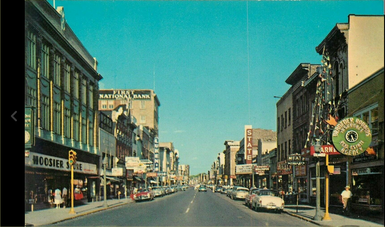 Old Color postcard of Richmond Indiana Main Street showing State Theater