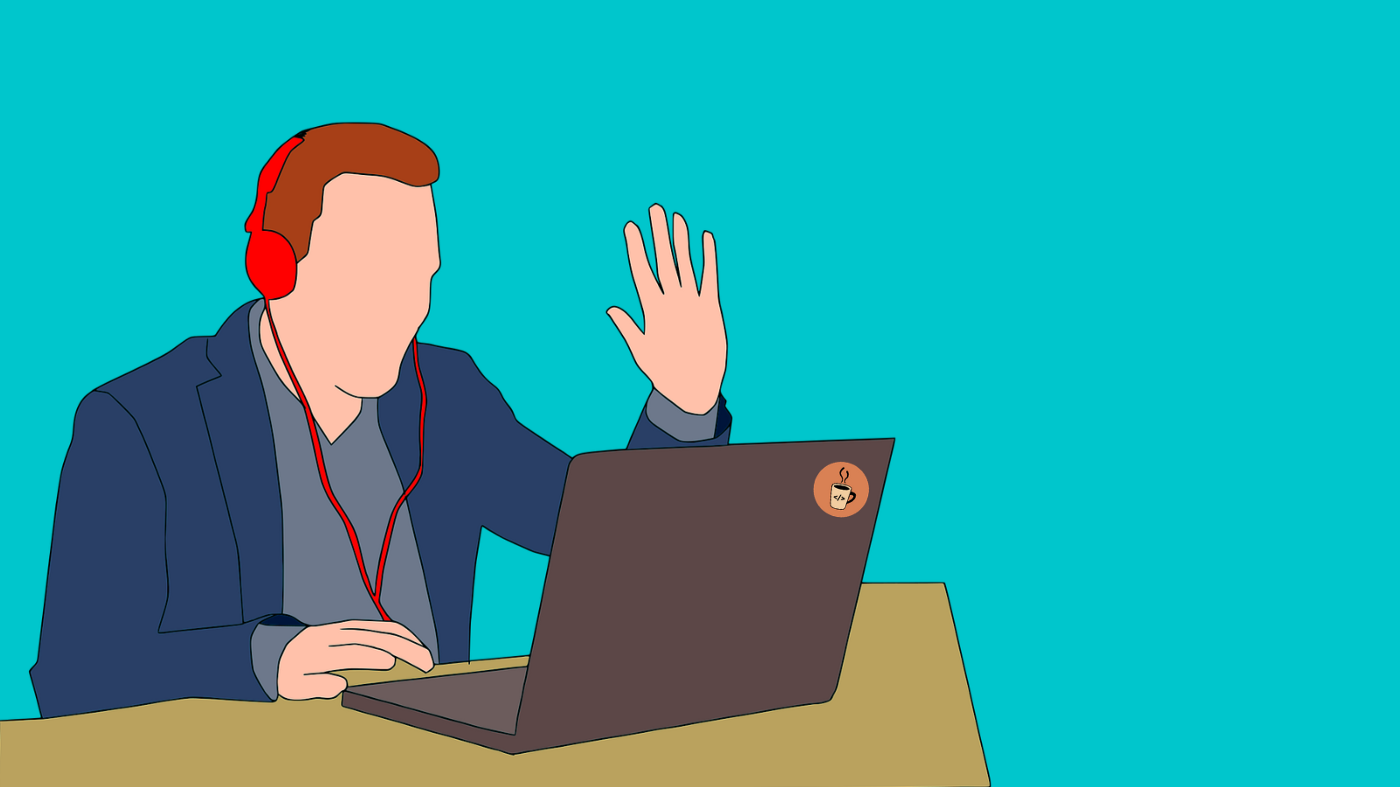 cup of code blog. this is an illustration of a person waving at a laptop camera