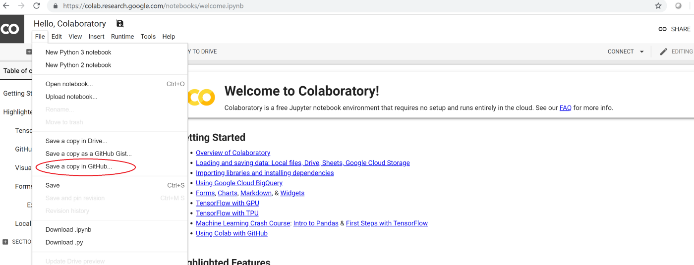 Google Collaboratory Notebooks and sharing it on Github