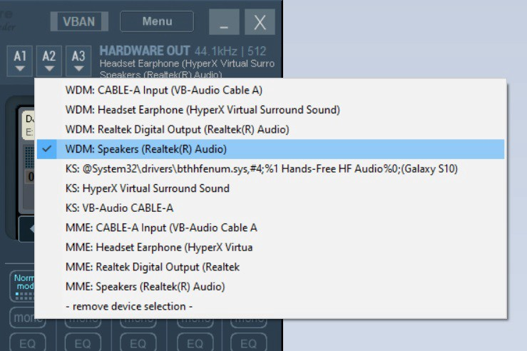 Screenshot of VoiceMeeter Banana showing the selection of desktop speakers for the A2 hardware out interface