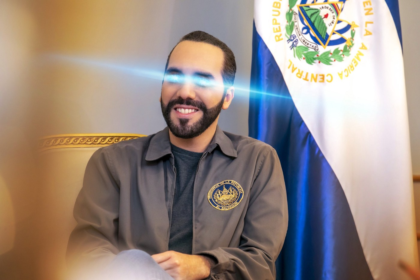 The President of El Salvador's current Twitter profile pic. Blue lasers beam from his eyes.