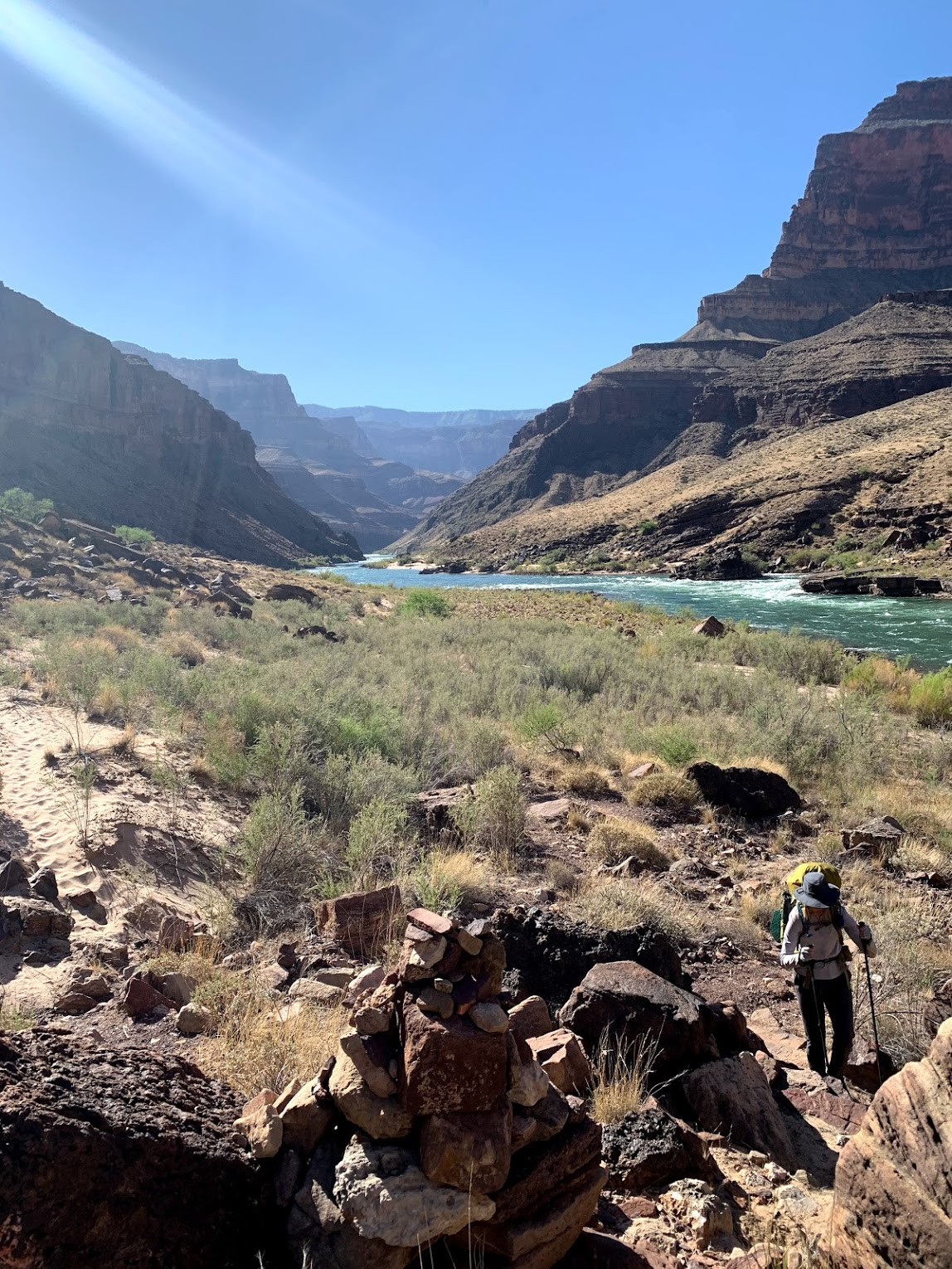 a woman hiking in the grand canyon, with a view of cliffs and the Colorado River.