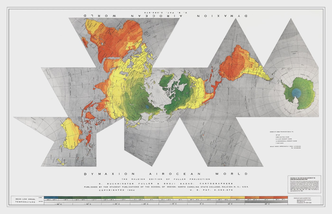A non-conventional world map projection consisting of different triangles and quadrangles. Its northern hemisphere lies at its center, with Europe, Asia, Africa and Australia stretching towards the left hand side of the map, and America and Antarctica stretching towards the right hand side of the map.