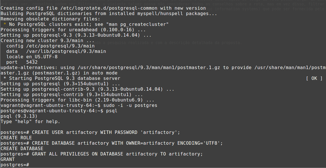 How to configure Artifactory JFrog with Postgres in the Vagrant VM