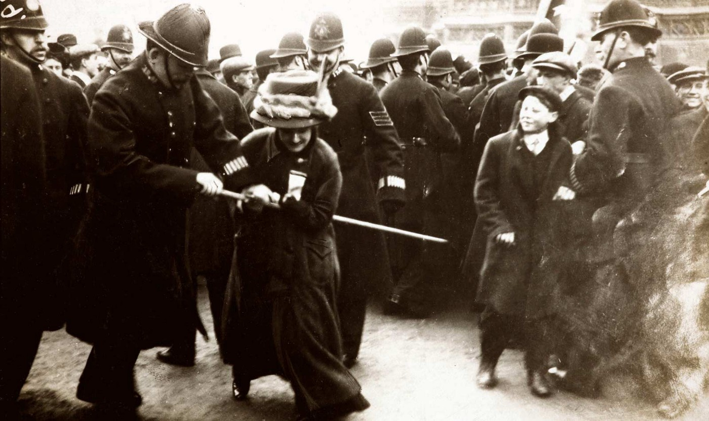 A British suffragette being arrested at a protest, 1910