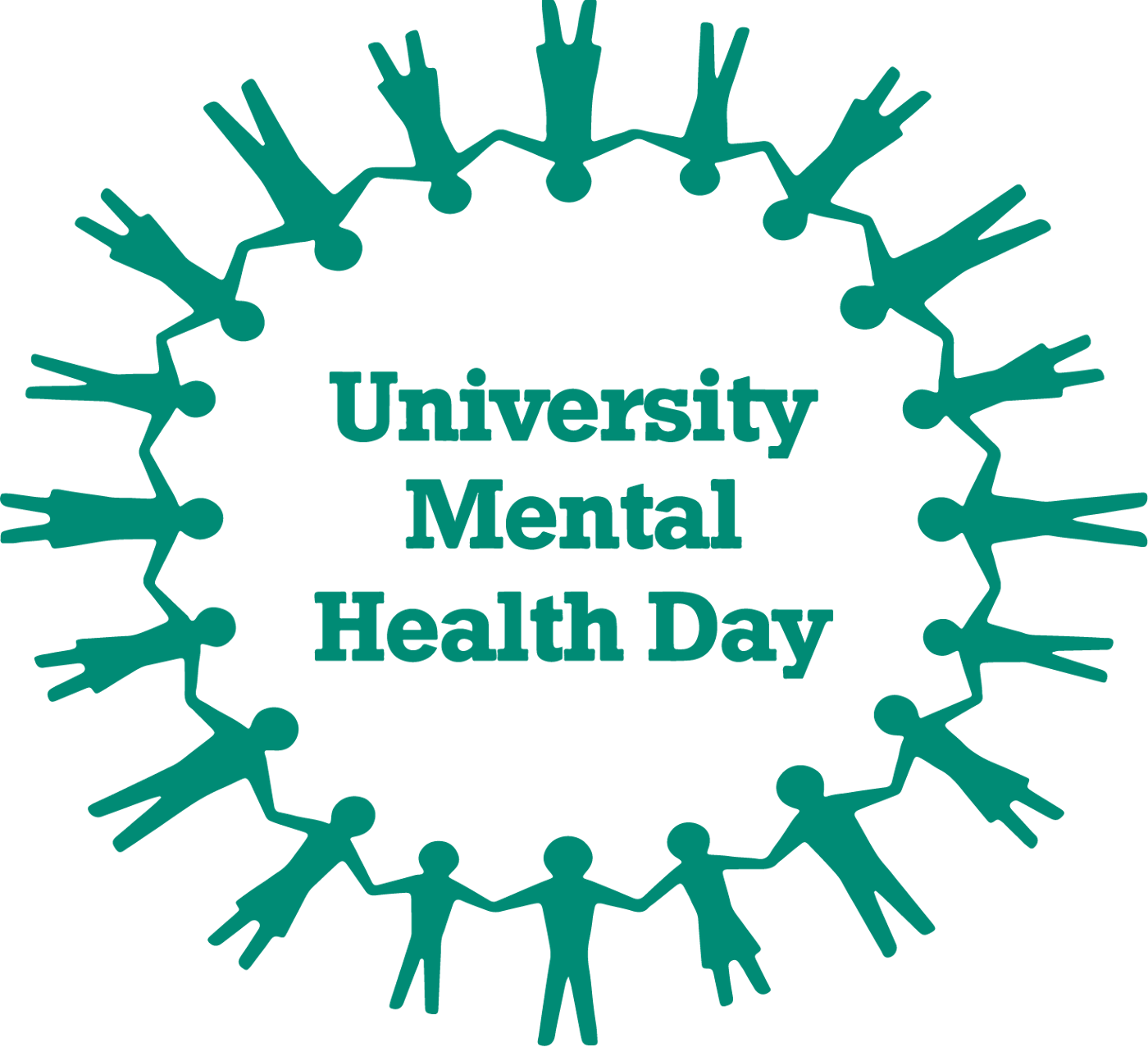 """The words """"University Mental Health Day"""" surrounded by a circle of stick figures with joined hands."""