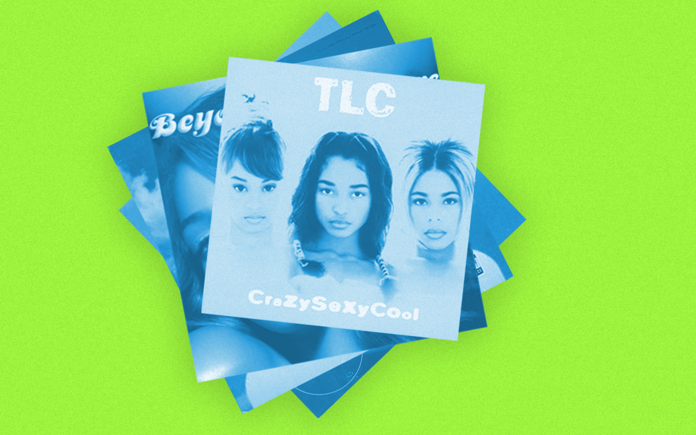 """A photo illustration of album covers against a vivid green background. TLC's """"CrazySexyCool"""" is at the top."""