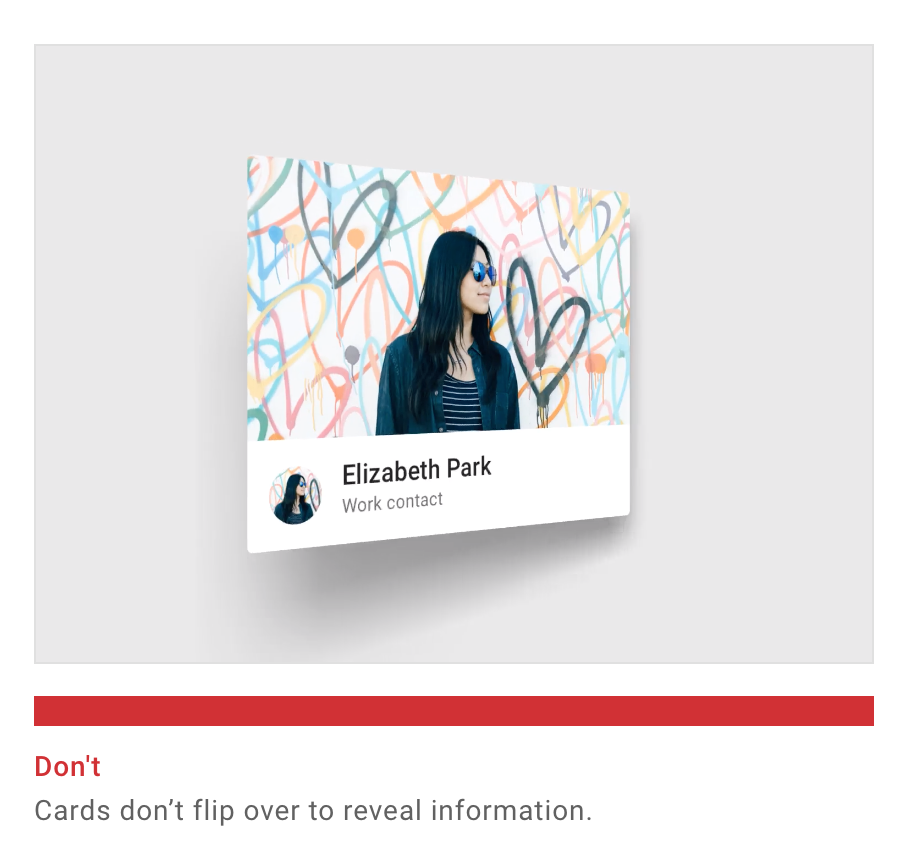 """A card with the photo of a woman in sunglasses and her name Elizabeth Park has started flipping. The image caption says, """"Don't. Cards don't flip over to reveal information."""""""