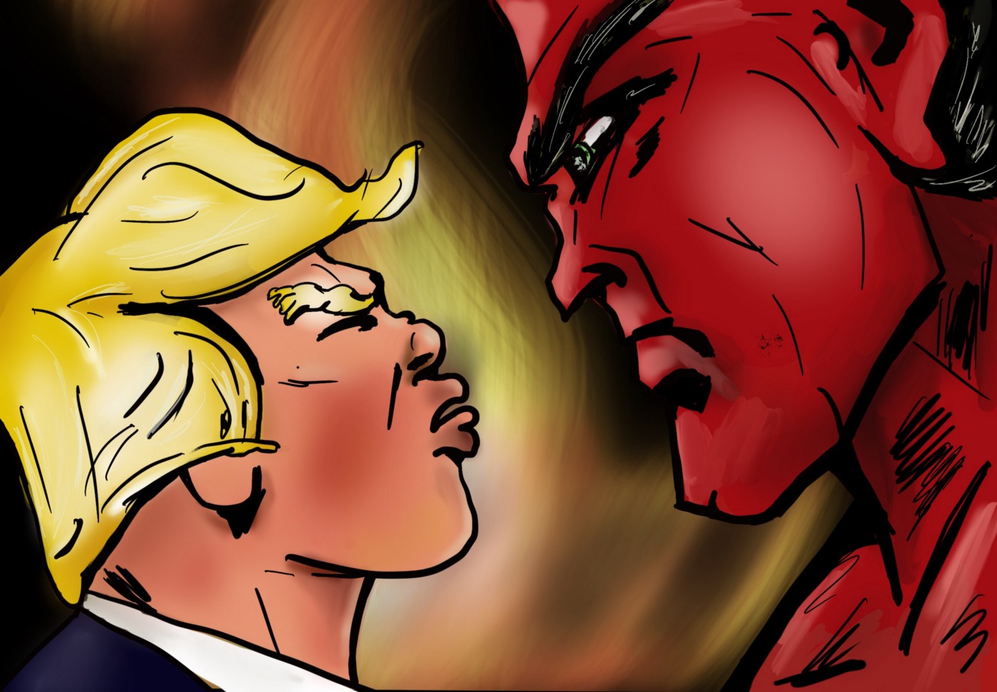 Donald Trump squaring off against the Devil in a comedic battle in Hell.