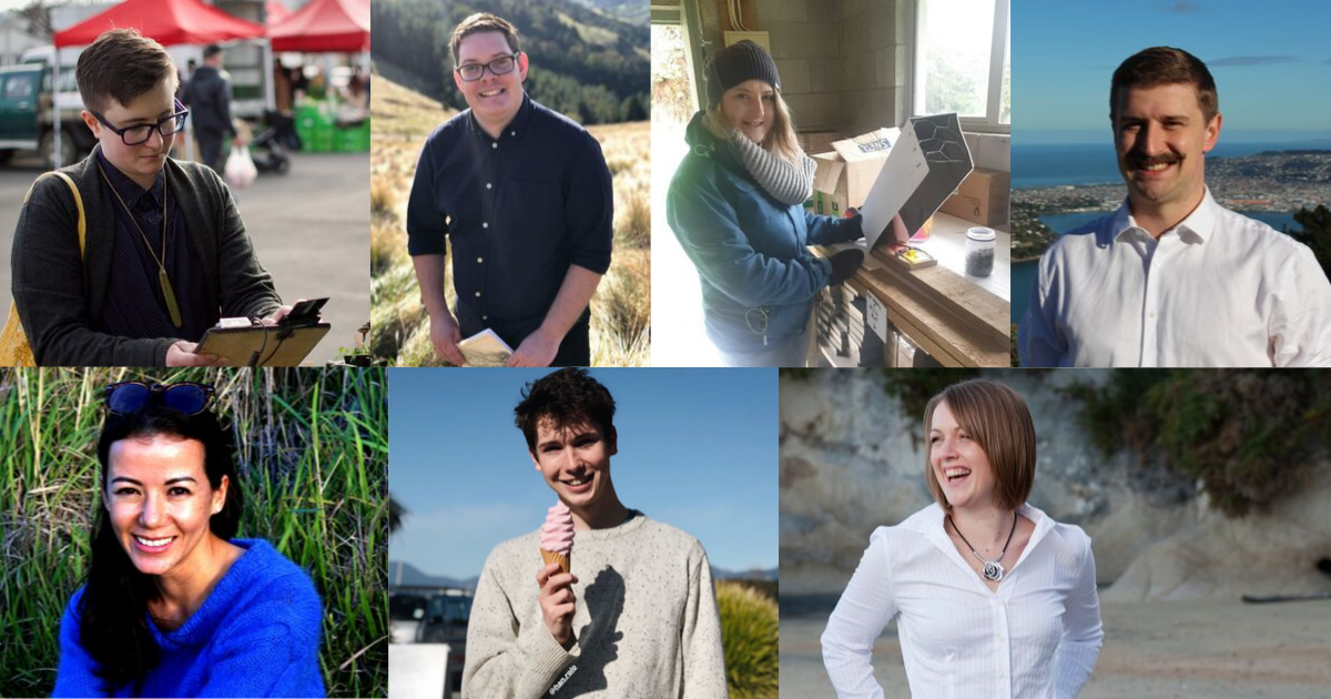 A colourful collage of seven young people in different outdoor settings
