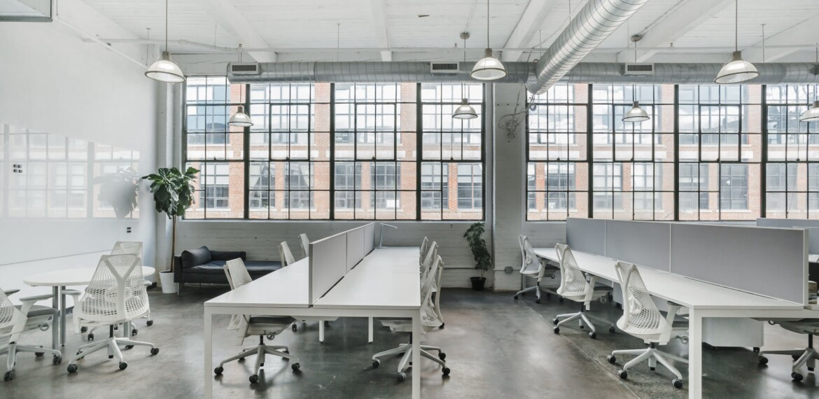 Contemporary office setting showcasing Herman Miller task chairs.