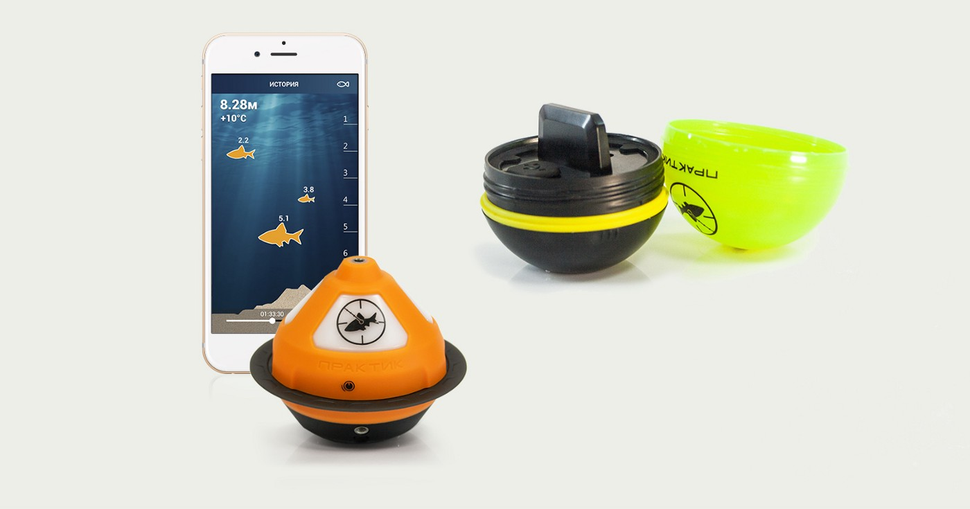 Smartphone with an app for fishfinder, device samples, assembled and disassembled