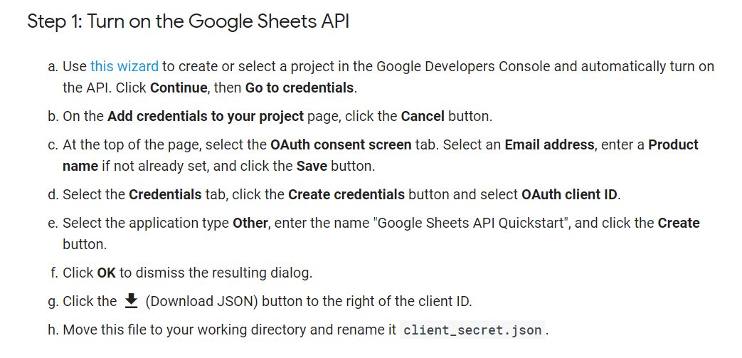How to access Google Sheet data using the Python API and convert to