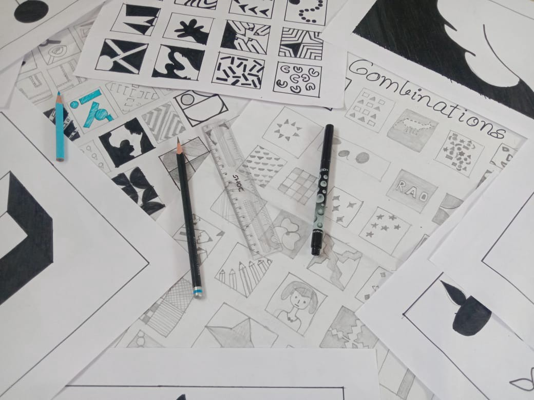 Picture of some of my explorations using elements of design.