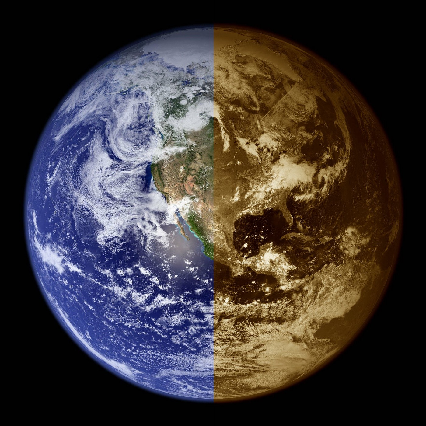Earth from space, with sepia shading on right half