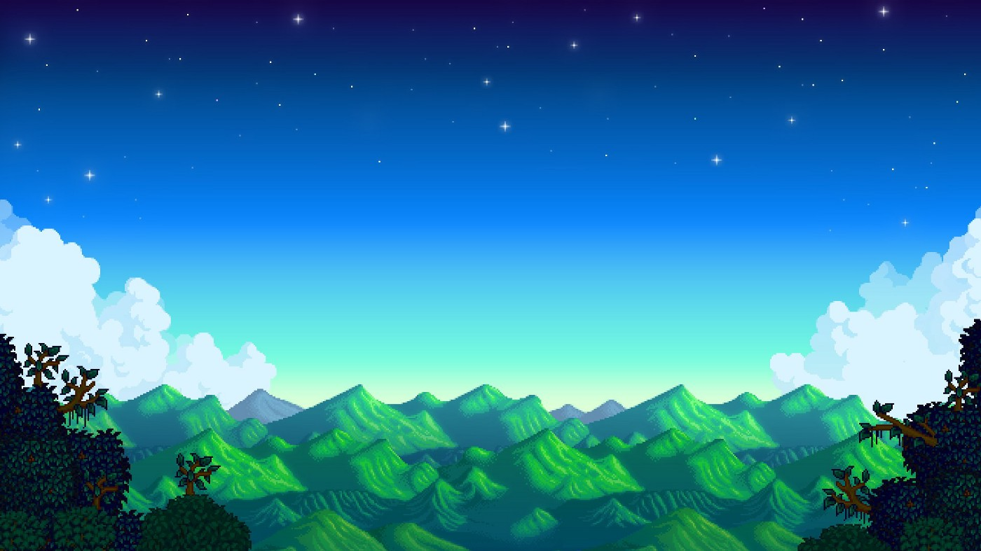 A scenic view of pixelated green rolling mountains beneath a starry night sky.