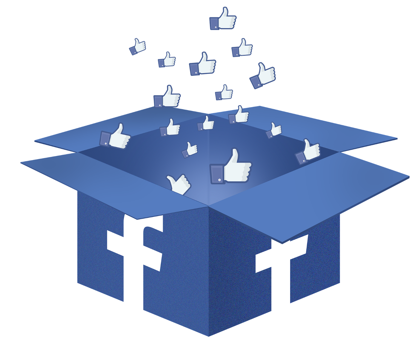 """""""Likes"""" floating out of a Facebook box"""