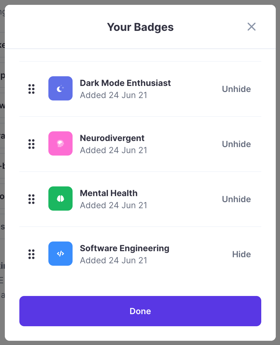 """A pop up from Polywork of badges chosen by @grem. Listed is """"Dark Mode Enthusiast"""", """"Neurodivergent"""", """"Mental Health"""", and """"Software Engineering""""."""