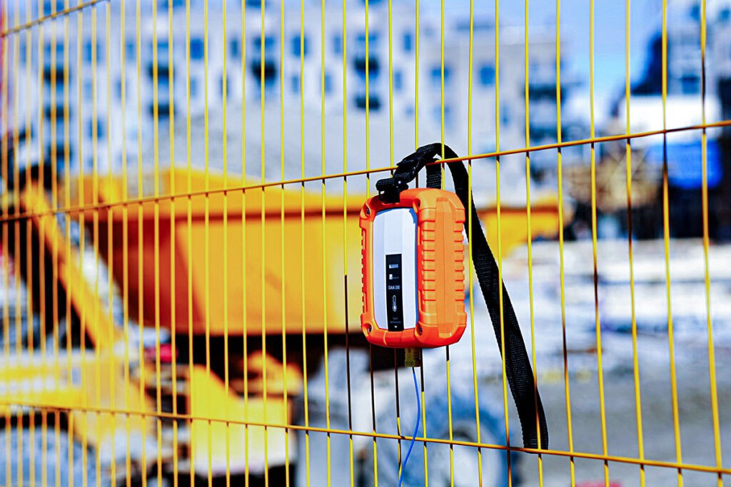 A Maturix Sensor is attached to fencing ready to support hot weather concreting.