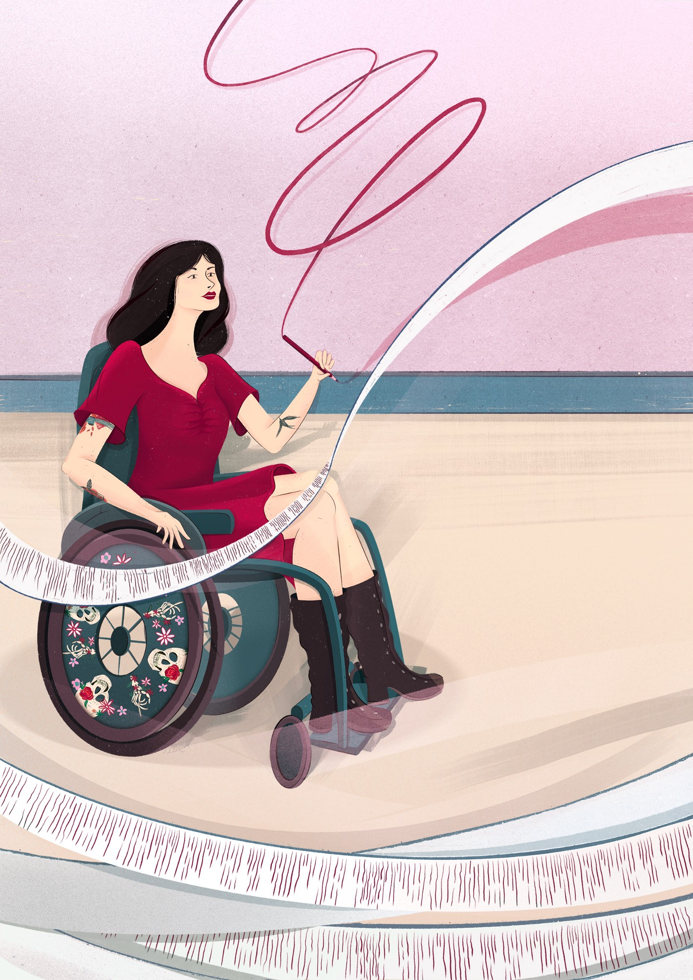 An illustration of Tara Moss. She is wearing a red dress and black boots. She sits in her wheelchair which has skulls and flowers on the wheel plates. She is writing on paper that is swirling around her.