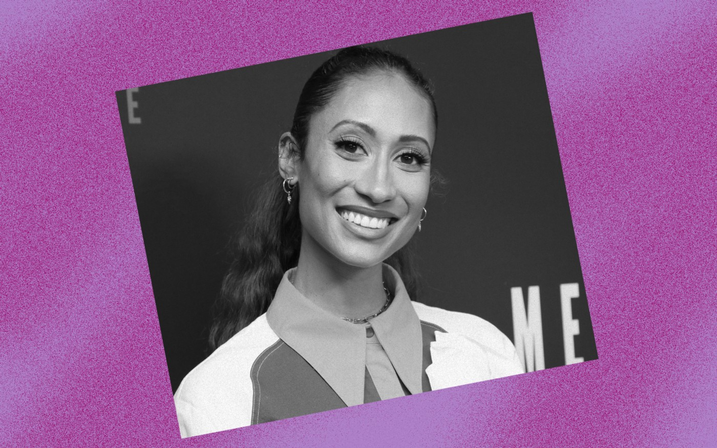 Black and white photo of Elaine Welteroth against a violet background.