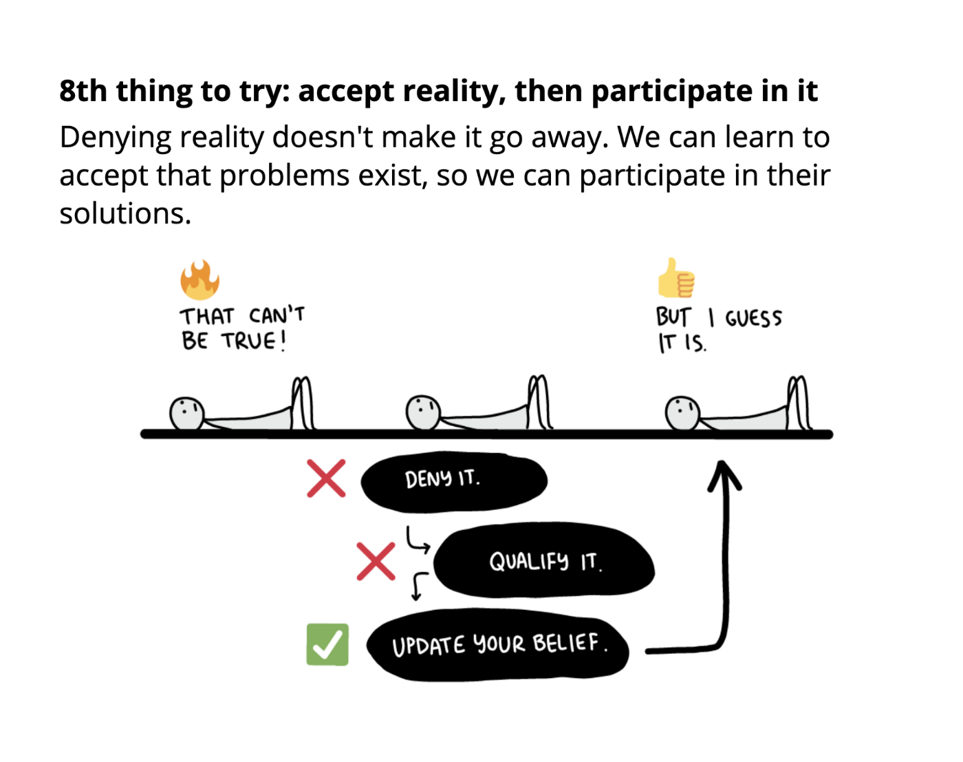 8th thing to try: accept reality, then participate in it