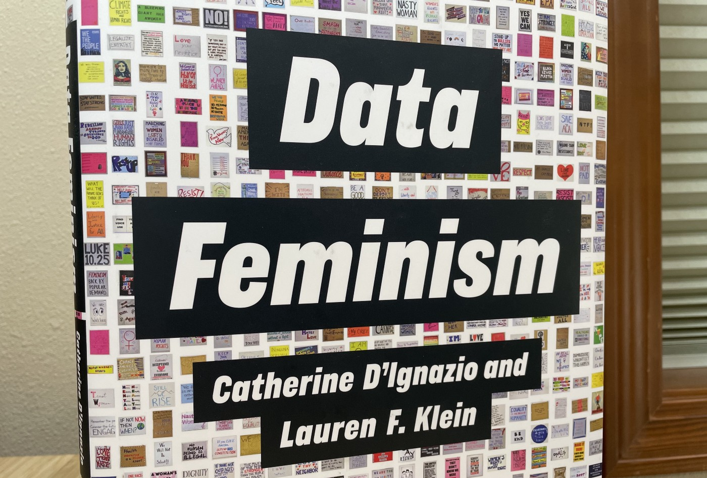"A photograph of the Data Feminism jacket cover, showing the title ""Data Feminism"", authors Catherine D'Ignazio and Lauren F. Klein, and a backdrop of hundreds of data visualizations."
