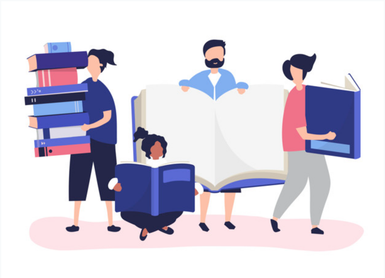 4 people holding books — illustration