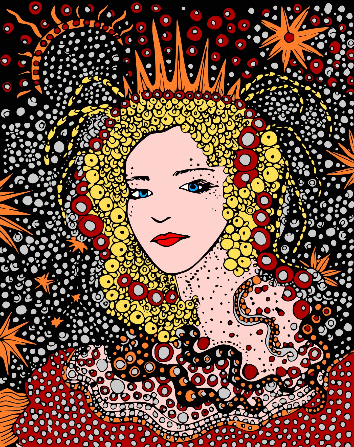 Modern painting of the head of a blonde haired princess surrounsed by suns and stars.