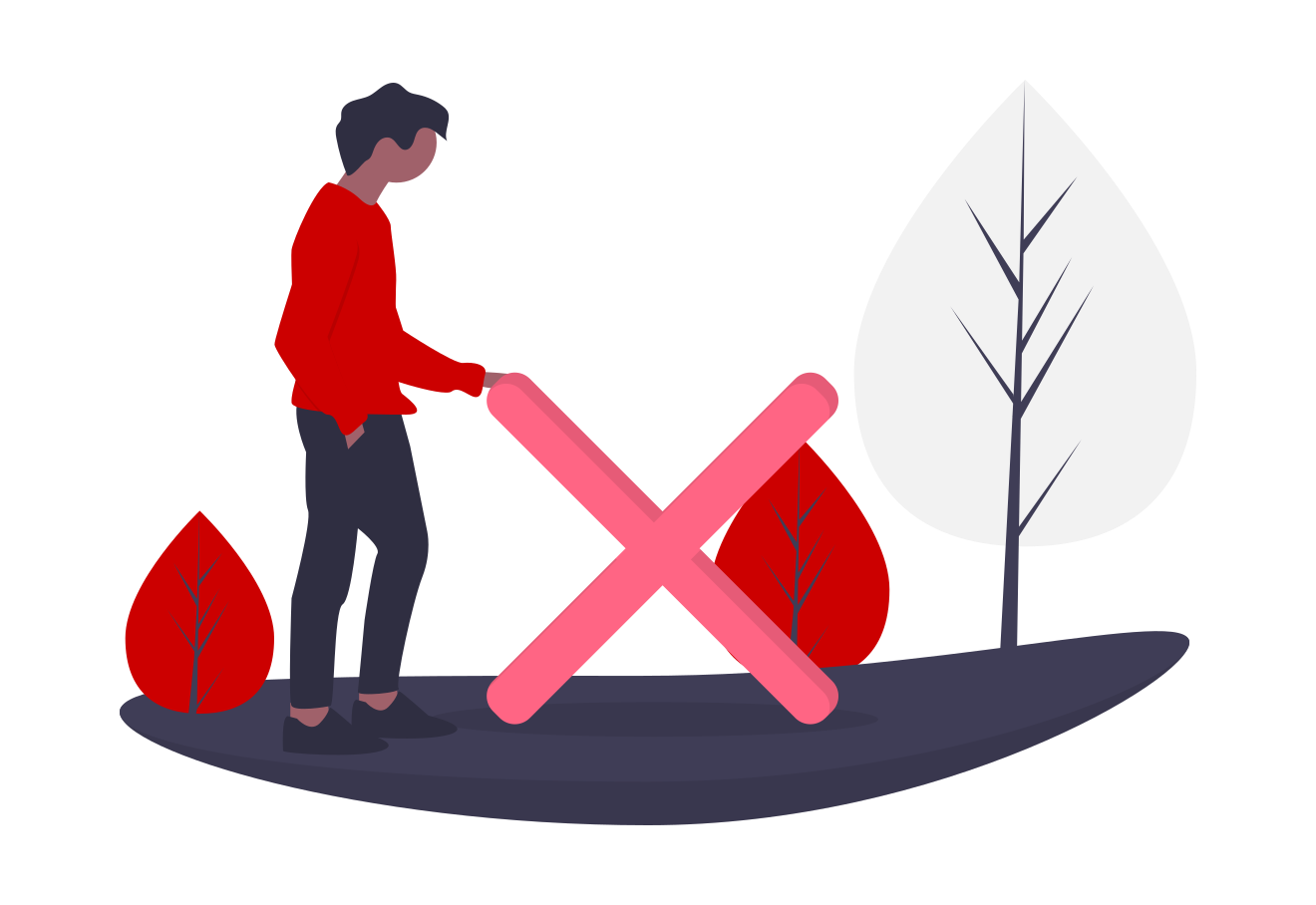Person standing in a forest, touching a big red X, representing making a mistake