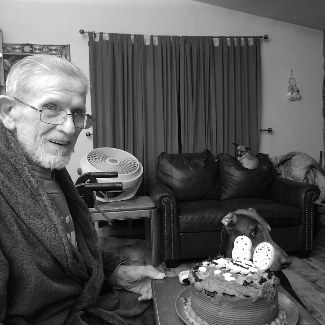 My father in law, Ed, celebrates 80 trips around the sun. We got to spend five years together after his stroke, during which time I learned much about caregiving. Photo by Lauren Westmoreland