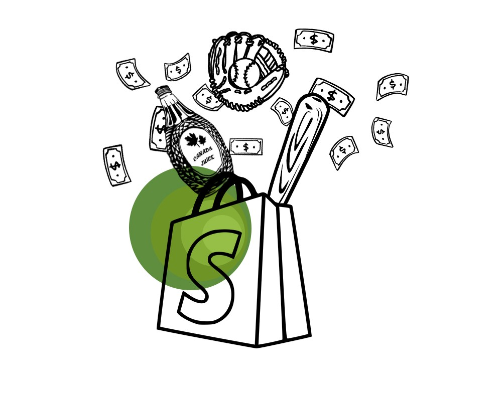 Illustration of the Shopify logo with maple syrup, money, and baseball items coming out of it.